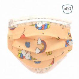 Pack 50 Mascarillas Higienicas Infantiles Desechables – 3 Capas – BFE>95% – UNE 0064-2:2020 uniocornios