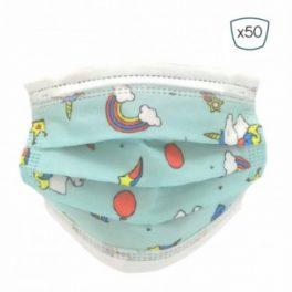 Pack 50 Mascarillas Higienicas Infantiles Desechables – 3 Capas – BFE>95% – UNE 0064-2:2020