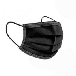 Pack 50 Mascarillas Quirurgicas Desechables Tipo IIR – BFE > 98% – Certificado CE – UNE EN 14683:2019+AC:2019 – Fabricado en España – Clip Nasal Ajustable – 3 Capas – Color Negro